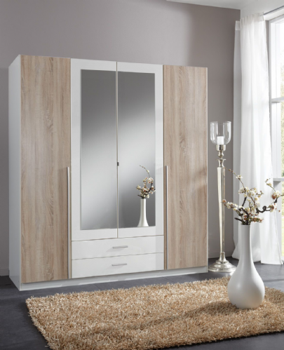 Artic White and Oak Effect 4 Door / 2 Drawer Wardrobe - 2651